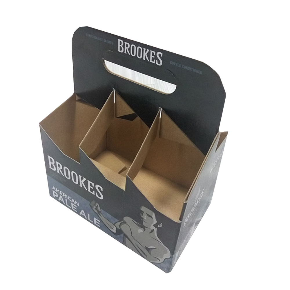 HIGH QUALITY CARDBOARD BEER BOTTLE BOX 4 PACK/BOTTLE WINE CARRIER BOX LIGHT BEER BOX WITH ON SALE