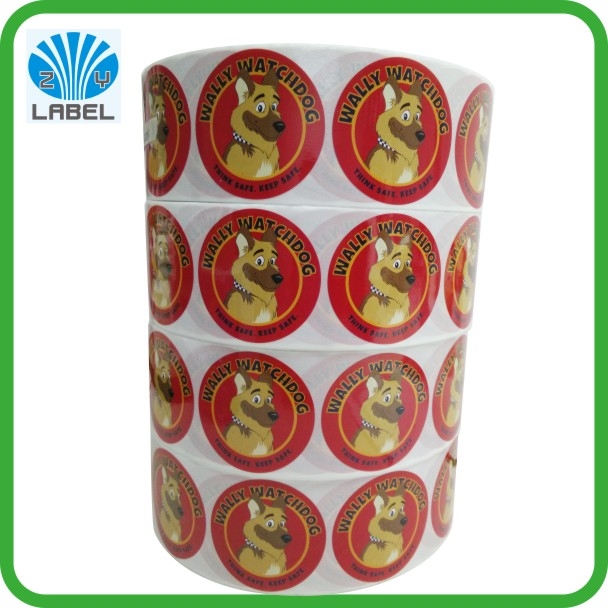 2016 rond label cartoon sticker with paper material gloss lamination kids label
