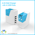 Wholesale 21W/4.2A Smart IC 4 Port USB Wall Charger Folding Plug USB Travel Charger