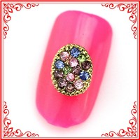 RH1356/1357 Alloy Round Disk Inlay Colorful Glitter Rhinestones Salon Nail Art Supplies