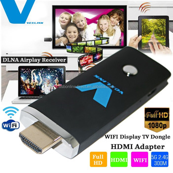 Voxlink 5G 2.4G 300M Extreme 1080P WIFI Display Dongle HDMI Adapter DLNA Airplay Receiver,BLACK
