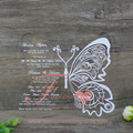 Chinese Manufacturer Customized Butterfly Shaped Arcylic Wedding Invitation