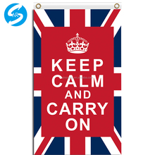 Factory Price Digital Printing 100D Polyester High Quality Keep Calm And Carry On 3x5 Union Jack Flag