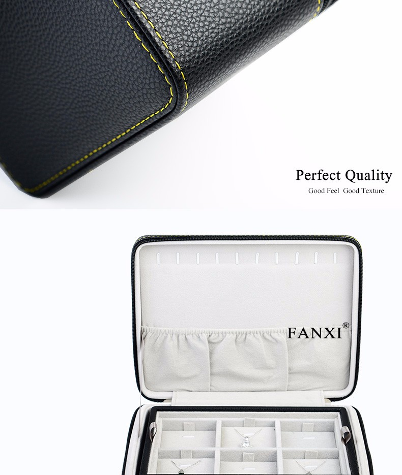 FANXI Multifunctional Boxes With Layers For Ring Pendant Bracelet Bnagle Necklace Collection Leather Jewellery Box Travel Case