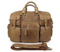 7028B-3 Unique Genuine Crazy Horse Leather Mens Laptop Briefcase Bag