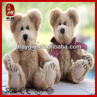 Cute toy animal wear a plaid bow tie movable joints plush teddy bear