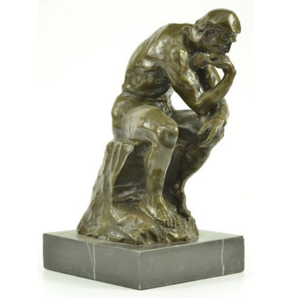 Famous brass Western life size nude male resin thinker statue