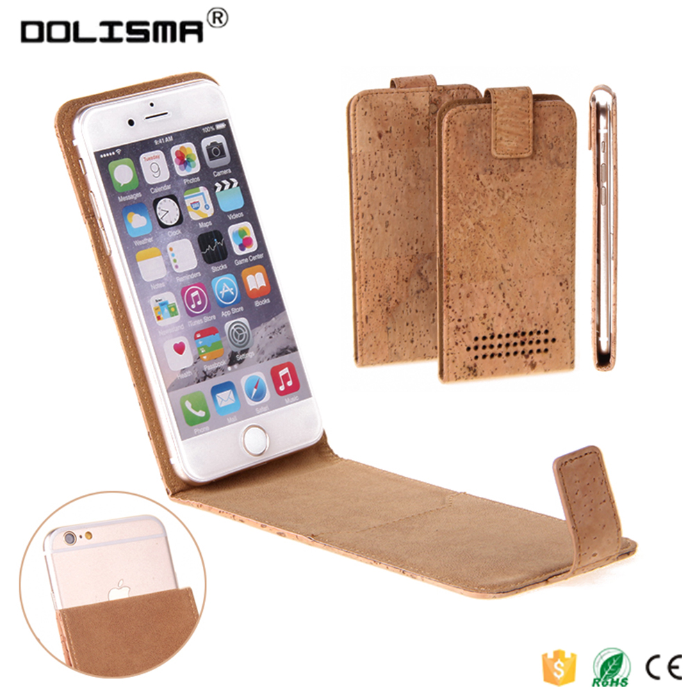 2016 Newest Natural Cork Leather Phone Case,Flip Universal Sticky Phone Case Fit for Iphone 6s Or Other 4.0-5.5 Inch Phone
