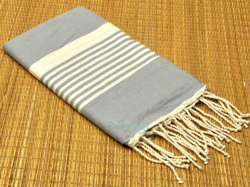t rkische pestemal handtuch randa fouta handtuch grau wei 100 fouta handt cher aus baumwolle. Black Bedroom Furniture Sets. Home Design Ideas