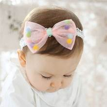 Fancy Baby Lace Hair Bow Headbands With Sponge Ball