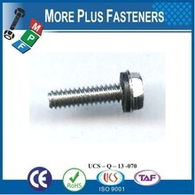 Made in Taiwan Phillips Indent Hexagon Washer Head Saw Slotted Indent Machine Screw Assembled With Rubber Backed Washer