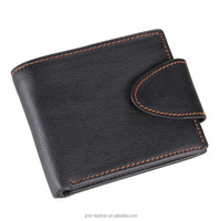 8060A Man Fashion Genuine Leather Black Wallet Coin Purse With Button