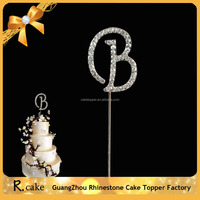 New font crystal letter cake topper ,hot sale single letter cake topper in promotional