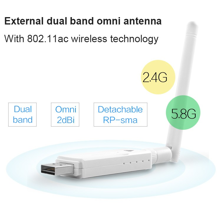 2.4G/5.8G Dual Band Omni-directional Antenna Wifi Dongle Wireless USB Adapter