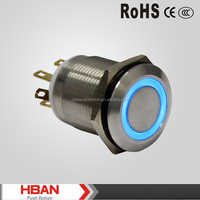 CE ROHS UL momentary latching ring illuminated metal push button reset switch with 24vdc led