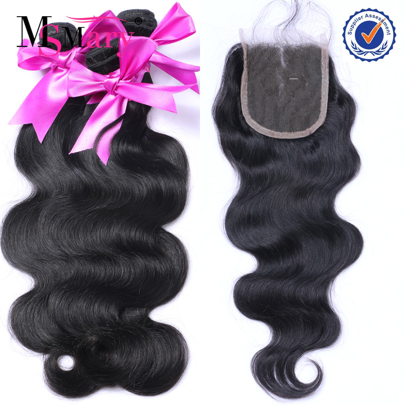 In Stock top quality unprocessed virgin back closure hair bundles with lace closure