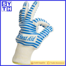 100% food grade heat resistant silicone coating aramid yarn knitted Oven Usage BBQ silicone grill gloves