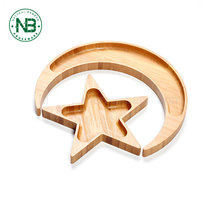 Moon and star shape design bamboo food tray candy dish wooden kids plate set