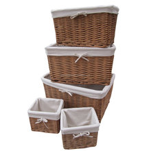 Wholesale Natural Wicker Lined Storage Basket, wicker laundry basket