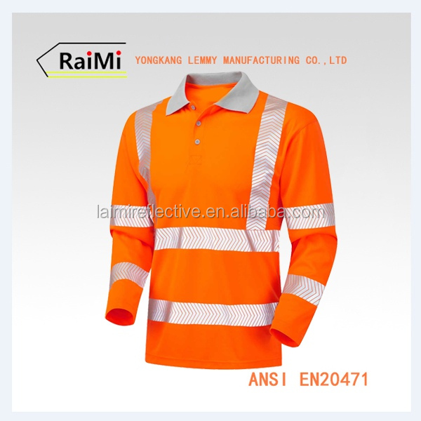 Top Quality Long Sleeve Reflective Safety mens hi vis work shirt