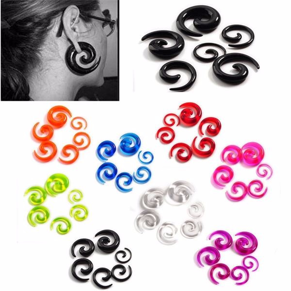 Wholesale fashion acrylic spiral earrings plug stainless steel jewelry