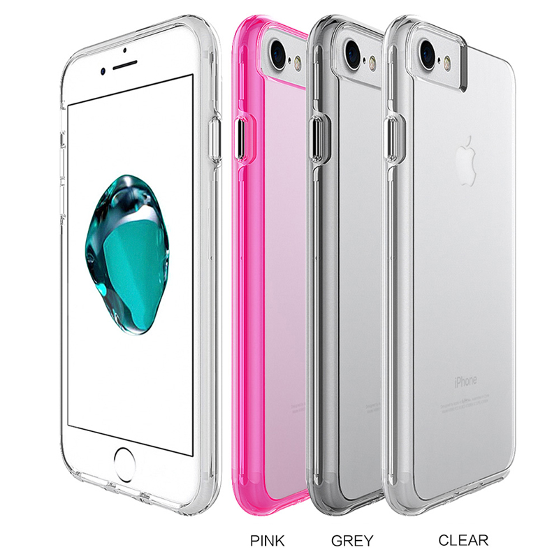 Clear Slim Transparent Hybrid Hard PC Back Cover Crystal Flexible TPU Gel Bumper Case For IPhone 6 6s