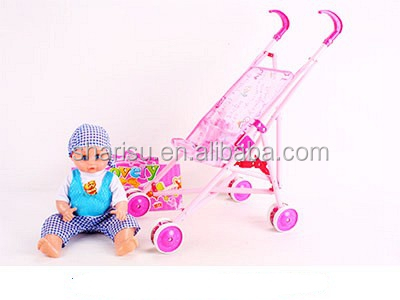 sitting music doll metal baby stroller for kids