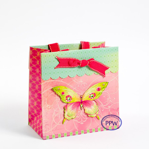 3D design Popular and High Quality Custom Paper Bag with glitter effect