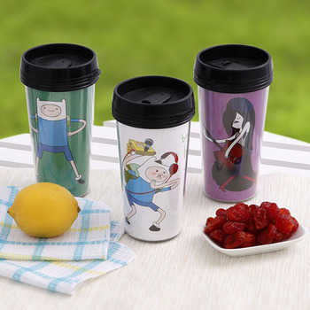Promotional 16oz double wall plastic tumbler with printing inside