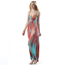 Bohemia Style Women Sexy Cleavage Spaghetti Strap Plus Size Dresses Maxi Dress
