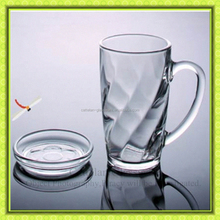unique sloping grain glass beer mug stein with lids,glass cup for drinking,glass orange juice tumbler