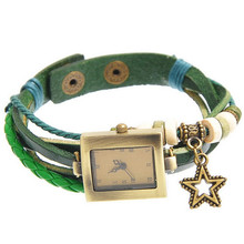 Retro Style Leather Weave Wrap Bracelet Fashion Lady Rectangle Green Star Pendant Wrist Watch 19cm