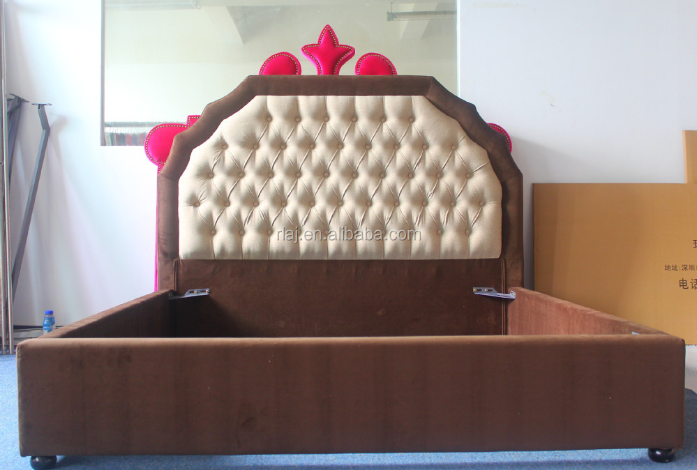 2017 Latest double bed designs in hand covering leather headboard and bedroom