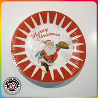 "9"" Decorative Christmas PE-Coated Disposable Paper Plate"