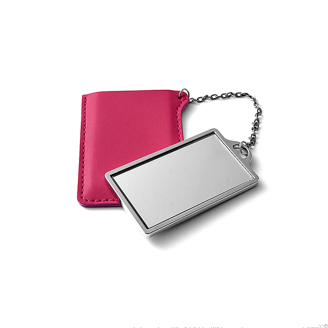 Custom cute rectangle metal makeup mirror with red leather bag for sale
