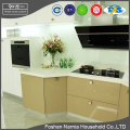 latest design small U shape UV panel wooden kitchen cabinet