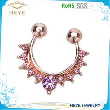 New Design Color Gold Plated AA zircon Setted South Asia Style Imitated Nose Rings