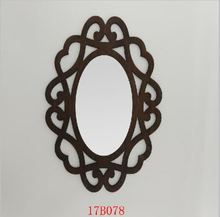 Whole customized fancy wooden oval wall mirror