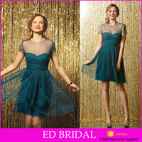 JYB1202 A-line Tulle Short Sleeve Made To Order Country Cheap Bridesmaid Dresses