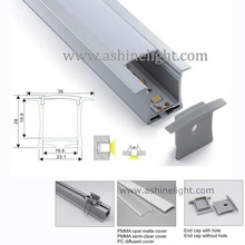 Milky/transparent cover aluminum LED profile for hanging with 1/2/3m length suspended wire