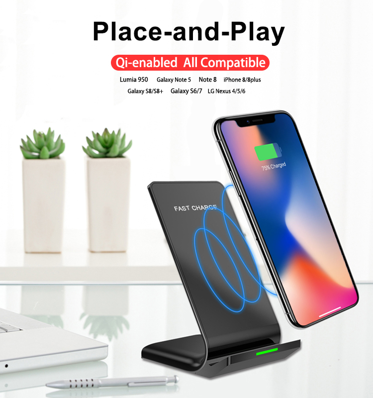 Qi Vertical Double Coil Wireless Charger For Mobile Phone
