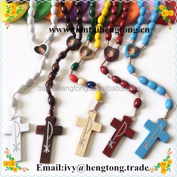 green wood bead cord rosary, custom oval beads religious catholic rosary with wooden cross