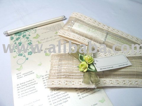 Native Pouch Scroll Invitation