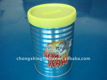 Round tin coin bank with removable lid