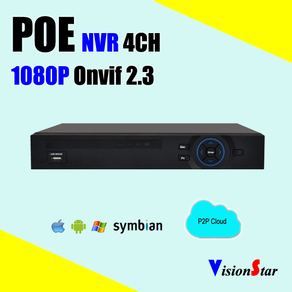 4ch H.264 Network Video Recorder 1080p POE Real Time cctv NVR