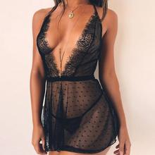 X63975A Women Sexy V Neck Lace Lingerie Sleepwear Nightgown Black Dress