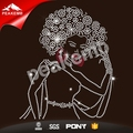 Custom Afro girl motif rhinestone applique iron ons for Garment