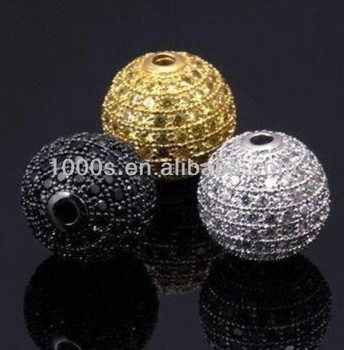 CZ Cubic Zirconia Pave Beads 925 Sterling Silver Jewelry Beads Micro Setting