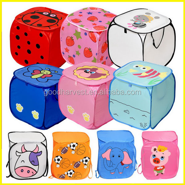 Kids Foldable Pop Up Animal Laundry Basket Toys Storage Bin Hamper Tidy Basket