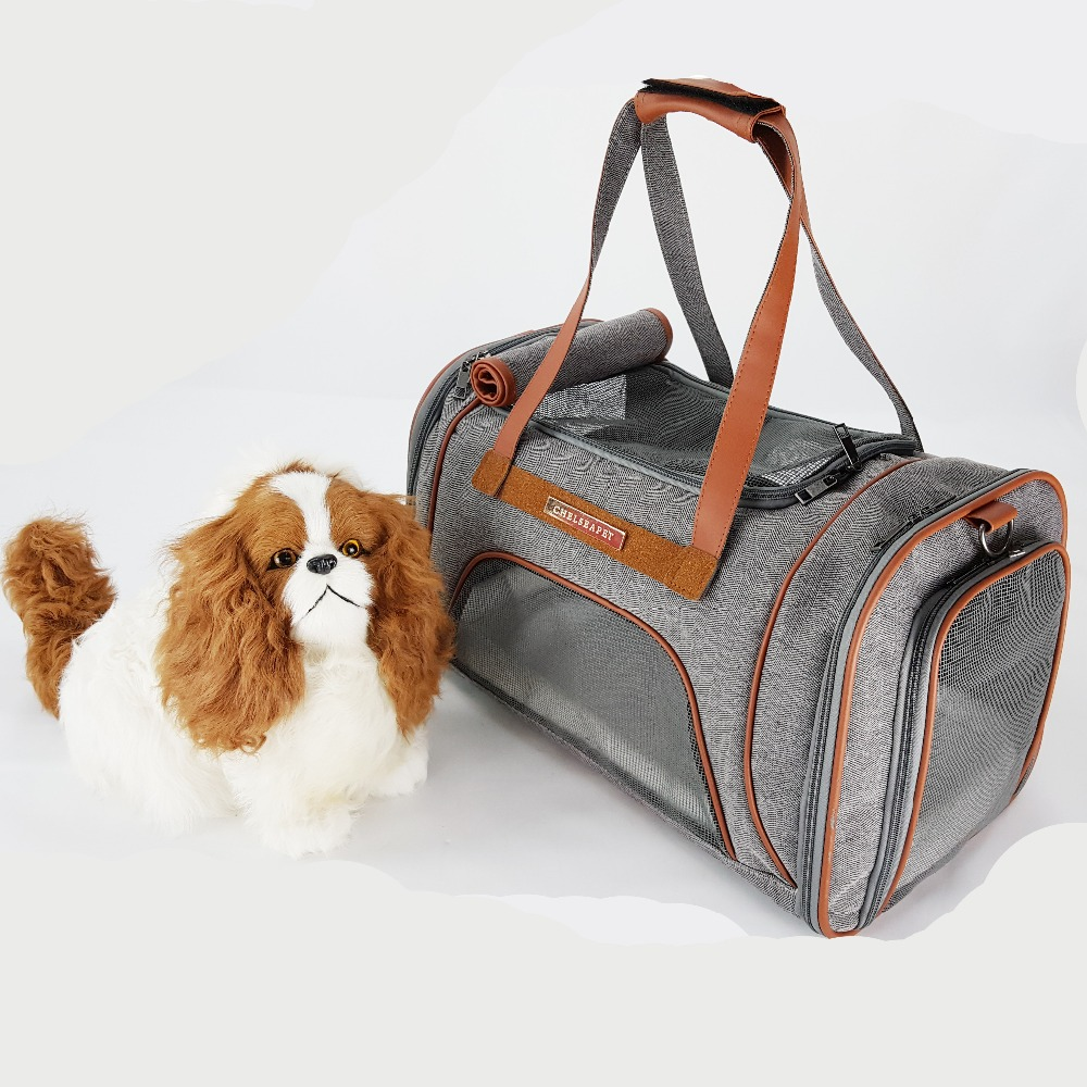Matt twill oxford handle dog carrier bag portable foldable pet bags with fiber wove and nylon mesh